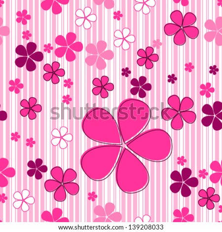 Vector cute seamless hand drawn style spring flowers background - stock vector