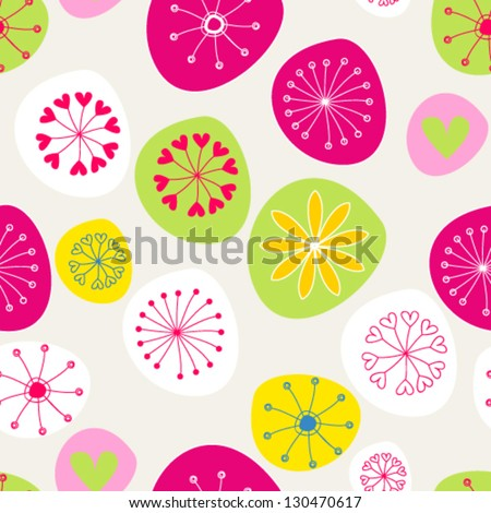 Vector cute seamless hand drawn style spring flowers backround - stock vector