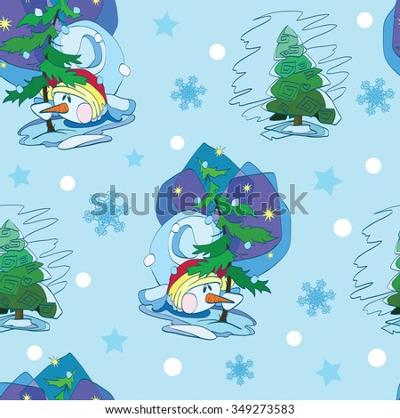 Vector Cute Snowmen Under Christmas Trees Seamless Pattern. Green blue tradition snowflakes. - stock vector