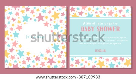 Vector cute tender invitation card for baby shower with stars. It's a boy - stock vector