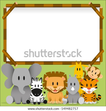 Vector Cute wild animals and blank board - stock vector