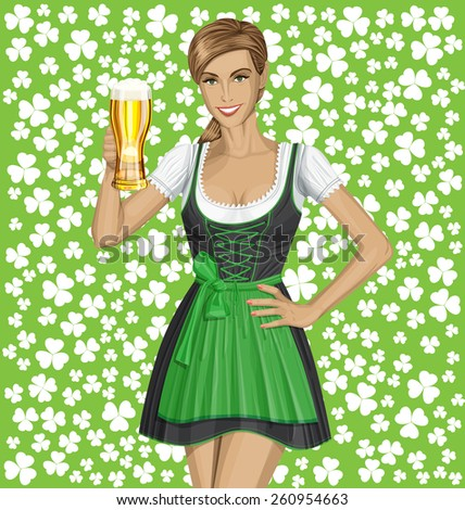 Vector cute woman in drindl on St Patricks day well done - stock vector