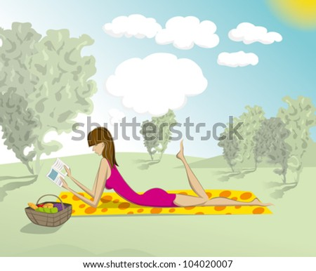 Vector cute woman reading the book outdoors, and dreaming - stock vector