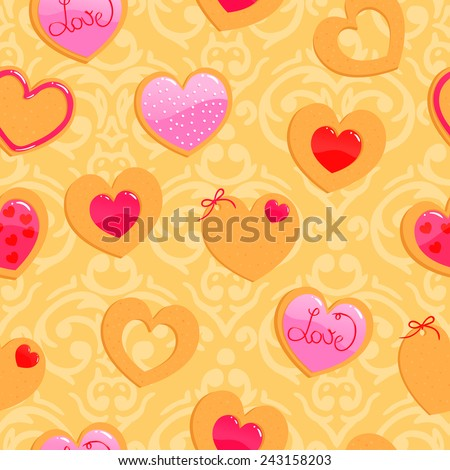 Vector cute yellow seamless Valentine's Day pattern with heart shaped cookies - stock vector