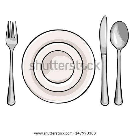 vector cutlery: fork, plate, knife, spoon - stock vector