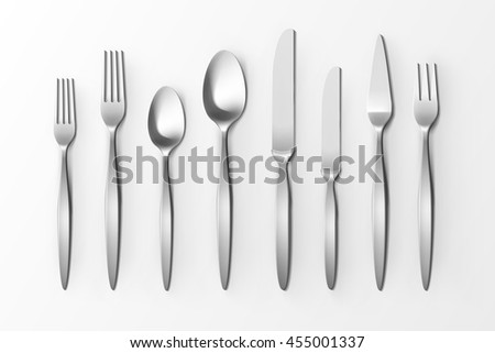 Vector Cutlery Set of Silver Forks Spoons and Knifes Top View Isolated on White Background. Table Setting - stock vector
