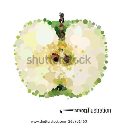 Vector cutout apple that consists of circles - stock vector