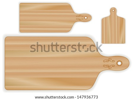vector - Cutting boards, paddle shape, 3 sizes, wood grain detail. For kitchen, barbecue and bar. Isolated on white. EPS8 compatible. - stock vector