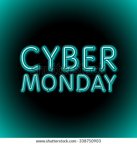 Vector cyber monday sale background. Vector illustration of embossed letters on blue blurred background. text. art - stock vector