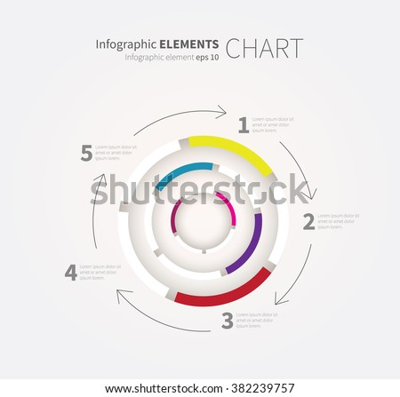 vector cycling chart, diagram graph for business presentation, concept, 5 options or 15 steps / circle labyrint infographics - stock vector