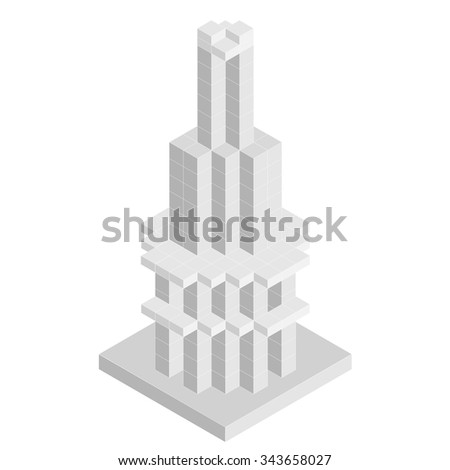 Vector 3d abstract building, paper skyscaper created from cubes or tower formed from blocks - stock vector