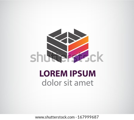 vector 3d abstract colorful geometric construction logo for company, identity - stock vector