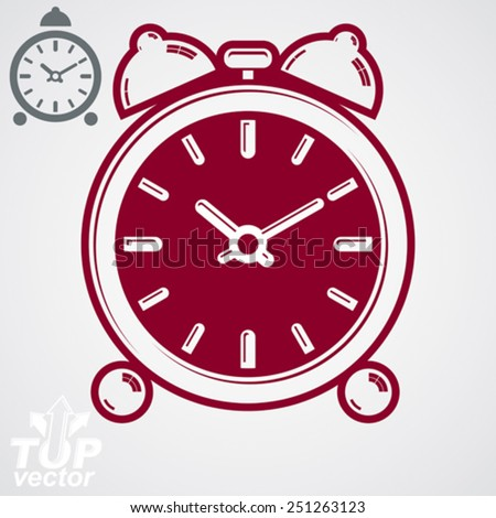 Vector 3d alarm clock with two symmetric bells. Wake up conceptual icon, additional version included. Graphic design element. Simple retro timer with clang bells. - stock vector