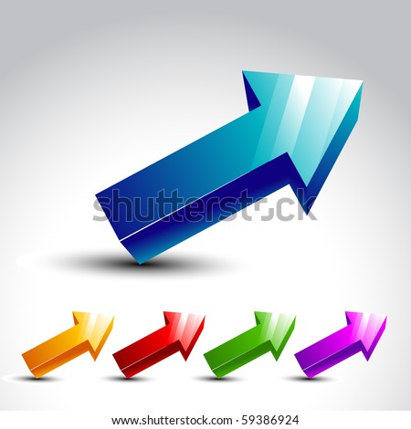 vector 3d arrow with many colors - stock vector