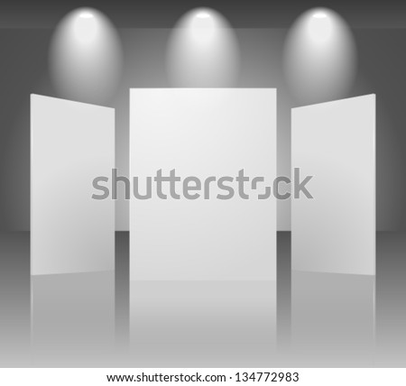 Vector 3d blank template of exhibition gallery stand wall with reflection on dark background. Image contains transparent lights and shadows. 10 EPS - stock vector