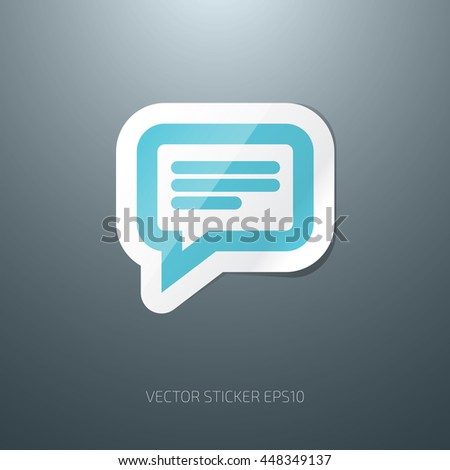 Vector 3d blue glossy speech bubble paper sticker icon - stock vector