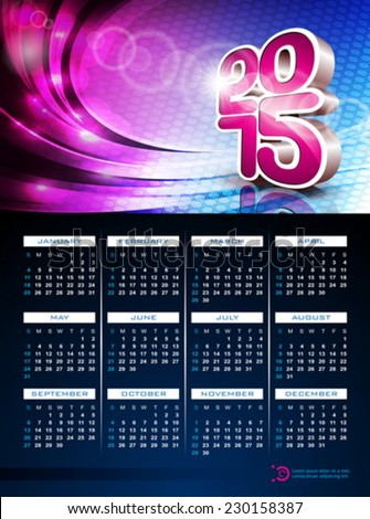 Vector3d  Calendar 2015 illustration on abstract color background. Eps 10 design. - stock vector