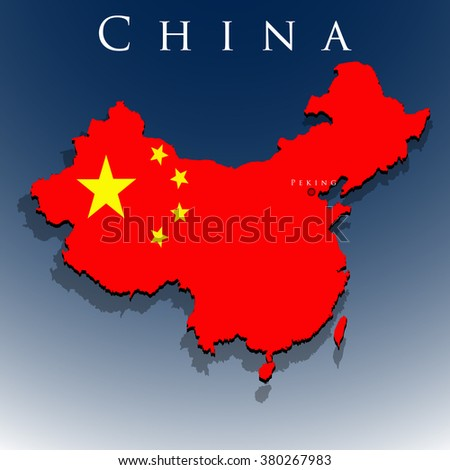 vector 3d China map with a flag on a blue background, EPS 10 - stock vector