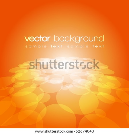 Vector 3D circle on the orange background with text - stock vector
