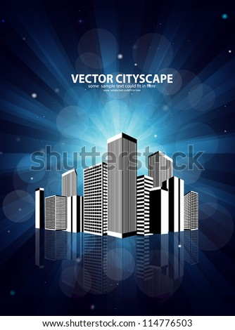 Vector 3d city over shiny blue background - stock vector