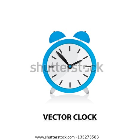 vector 3d clock Icon. blue alarm clock. - stock vector