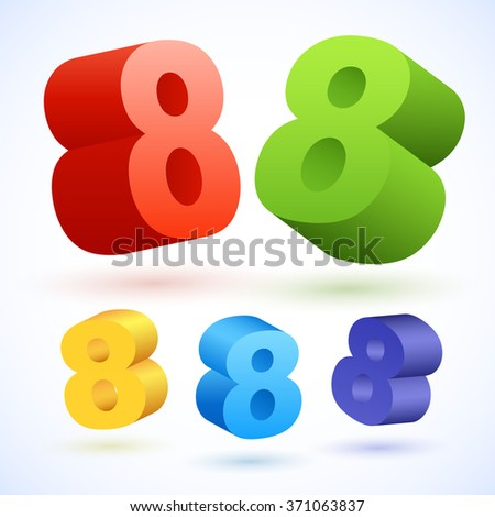 Vector 3D colorful numbers. Number 8 - stock vector