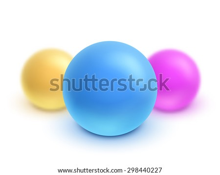 Vector 3d colorful sphere set with the effect of blurring. - stock vector