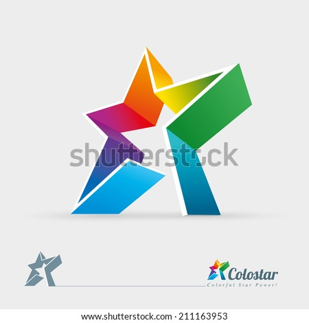 Vector 3d colorful star logo design element. Easy editable. - stock vector
