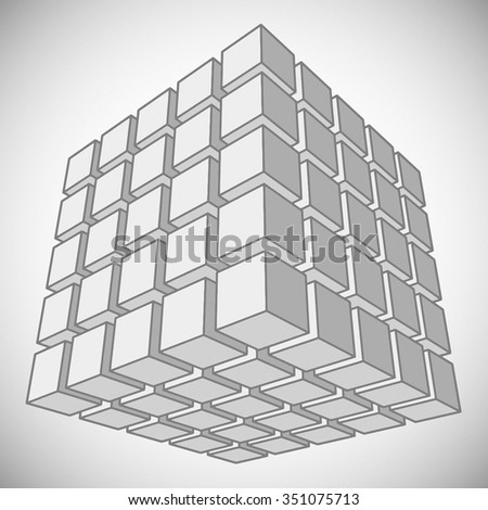 Vector 3d cube. Black and white illustration. - stock vector