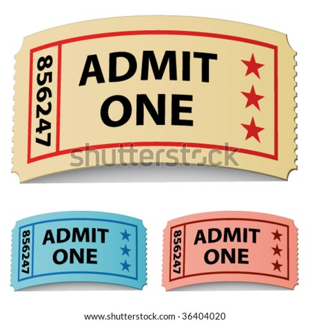 vector 3d curled tickets - stock vector