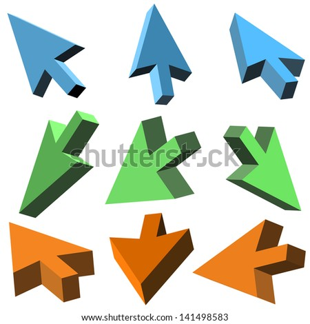 Vector 3D cursors on white background - stock vector