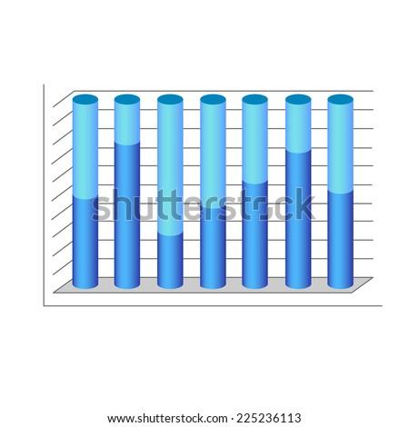 vector 3d cylinder chart diagram blue graph vector illustration - stock vector