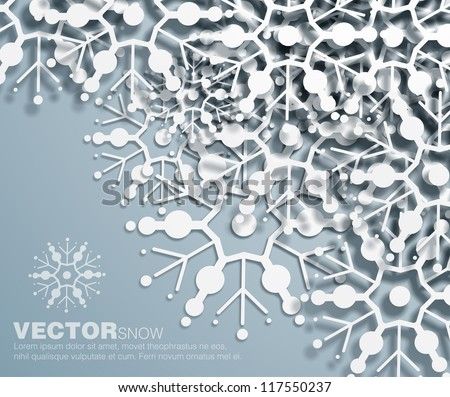 Vector 3d  decorative corner design of overlapping  snowflakes . The shadows are entirely vector based . - stock vector