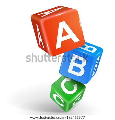 vector 3d dice with word ABC on white background - stock vector