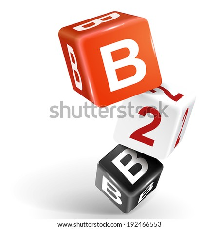 vector 3d dice with word B2B business to business on white background - stock vector