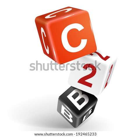 vector 3d dice with word C2B consumer to business on white background - stock vector