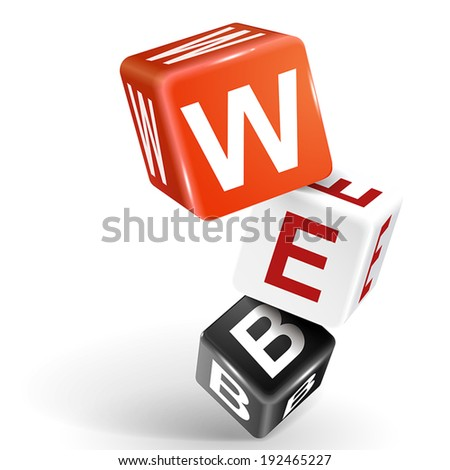 vector 3d dice with word WEB on white background - stock vector