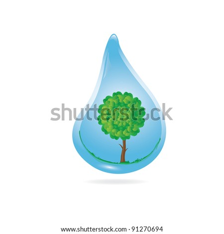 """Vector 3d Eco concept """"water ia life"""". Drop with tree inside. - stock vector"""