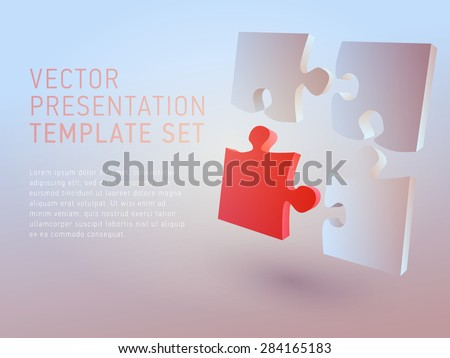 vector 3d empty template puzzle - stock vector