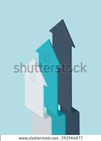 Vector 3d flat design arrow infographic elements - stock vector