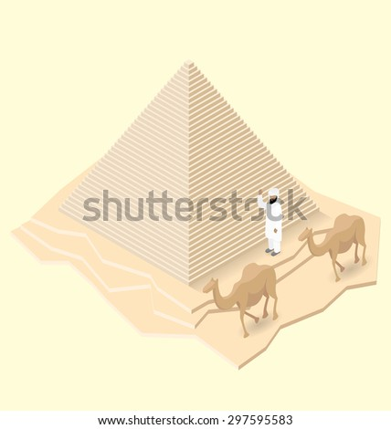 Vector 3d flat isometric egyptian pyramid with camel and bedouin - stock vector