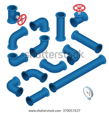 Vector 3d flat isometric illustration collection of detailed Construction Pieces: pipes, fittings, gate valve, faucet, ells.  - stock vector