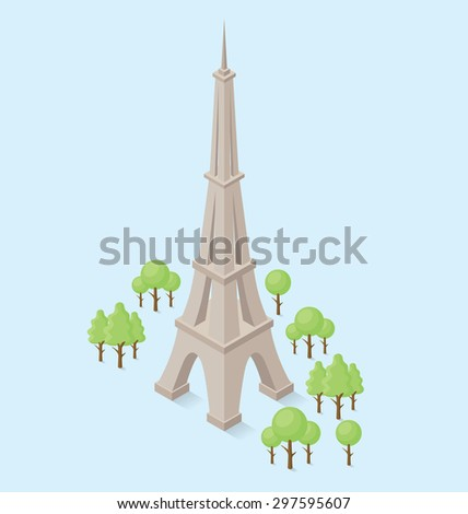 Vector 3d flat isometric monument of Eiffel Tower in Paris - stock vector