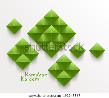 Vector 3D Folded Paper Graphics. Translation: Ramadan Kareem - May Generosity Bless You During The Holy Month. - stock vector