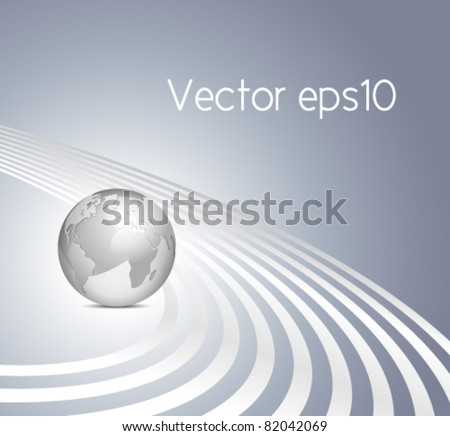 Vector 3d globe on gray blue background with silver lines - abstract business template - stock vector