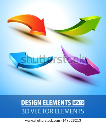 Vector 3d glossy arrows. 3d vector elements on blue background. Arrow design elements icons. - stock vector