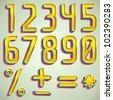 Vector 3d gold font numbers digits - stock vector
