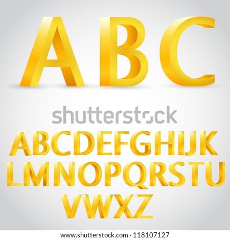 vector 3d golden alphabet - stock vector