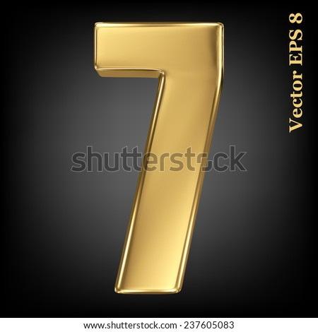 Vector 3d golden number collection - 7. Eps 8 using mesh. - stock vector