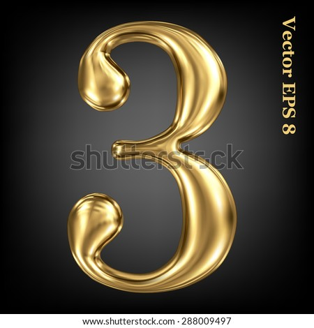 Vector 3d golden number collection - 3. Eps 8 using mesh. - stock vector